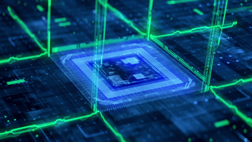 Futuristic Technology Background CPU Circuit. 3D Visualization AI Processor Power. Colorful Blue and Green Digitalization Process. Data Transmission in Board Chip Virtual Computer Animation Closeup 4K Royalty-Free Stock Footage #1072016767
