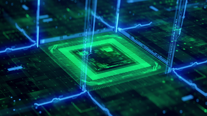Futuristic Technology Background CPU Circuit. 3D visualization AI Processor Power. Colorful Green and Blue Digitalization Process. Data Transmission in Futuristic Board Chip Virtual Computer Animation Royalty-Free Stock Footage #1072016770