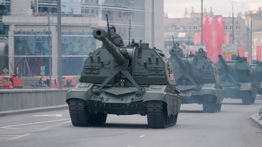Moscow, Russian Federation, 05.07.2021: rehearsal of the parade of military equipment dedicated to the Victory Day 9 may on the central streets of the city