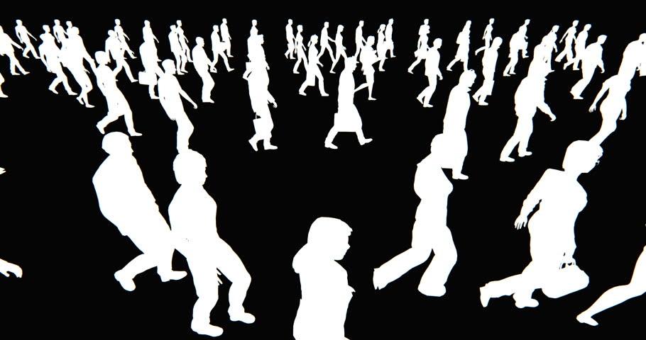 4k Crowd Of People walking,white businessman silhouette in black background. cg_02704_4k | Shutterstock HD Video #10722797