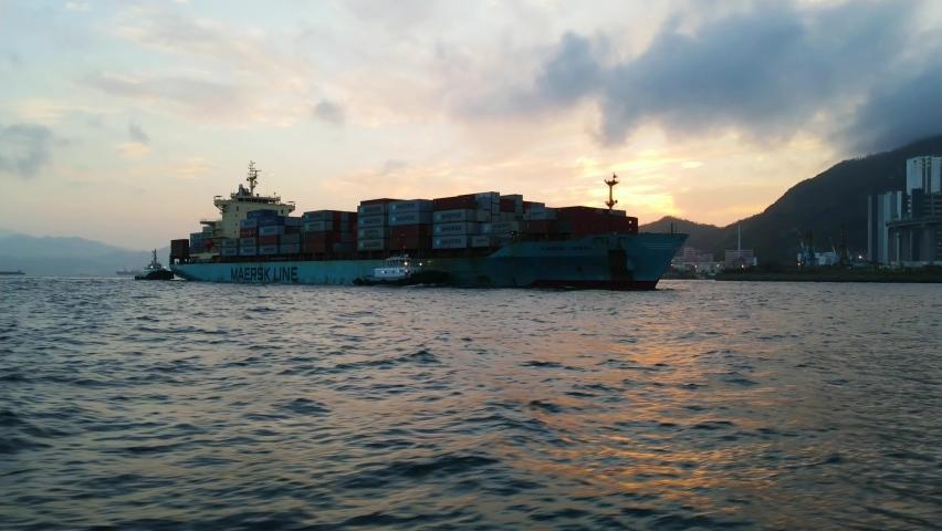 Hong Kong 、Kwai Cheung 08 05 2021 The maersk line container ship port of call hong kong