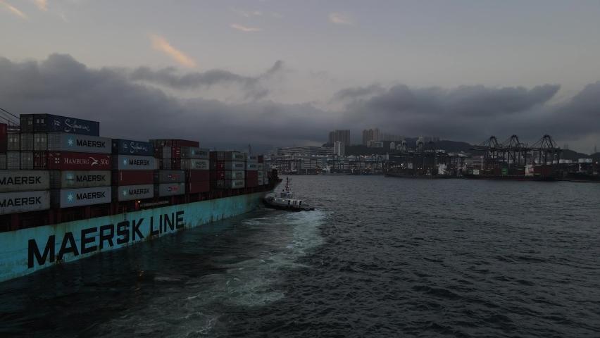 Hong Kong 、Kwai Chung 08 05 2021 The Maersk line container ship port of call hong kong