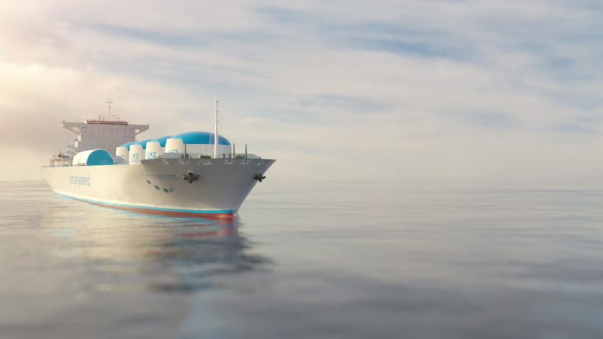 Liqiud Hydrogen renewable energy in vessel - LH2 hydrogen gas for clean sea transportation on container ship with composite cryotank for cryogenic gases. 3d rendering. Royalty-Free Stock Footage #1072461614