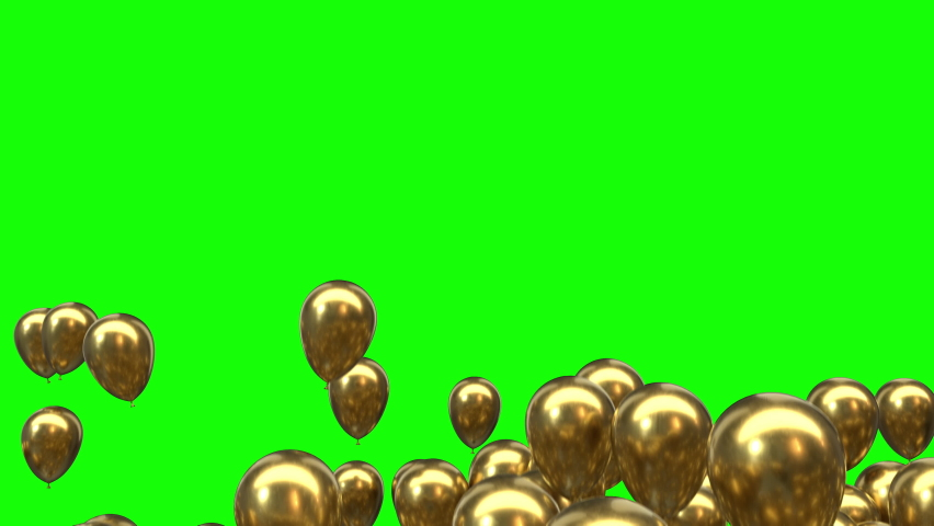 Flying Golden Helium Balloons from Bottom to Top and Disappear isolated on Green Screen Background 4K | Shutterstock HD Video #1072473746