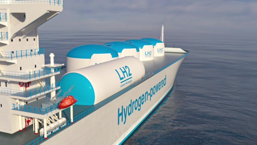 Liqiud Hydrogen renewable energy in vessel - LH2 hydrogen gas for clean sea transportation on container ship with composite cryotank for cryogenic gases. 3d rendering. Royalty-Free Stock Footage #1072508510