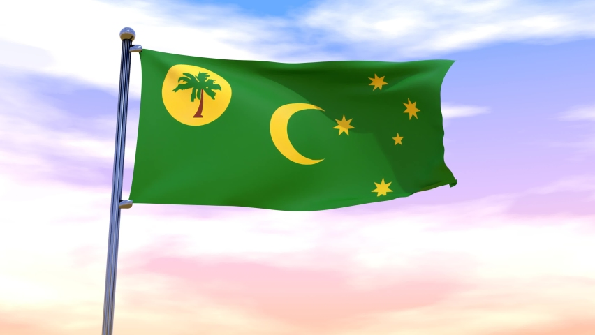 Waving flag of Cocos (Keeling) Islands with chrome flag pole in high cloudy sky in the wind. High resolution flag with clarity natural background, 3D illustration