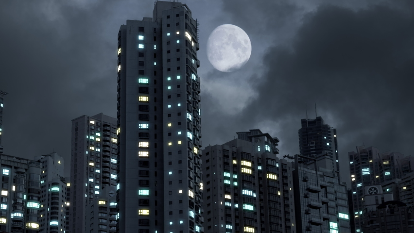 Blackout Future Modern City 4k. Power Outage In A High Rise Apartment Complex. Location: Hong Kong.  Royalty-Free Stock Footage #1072805480