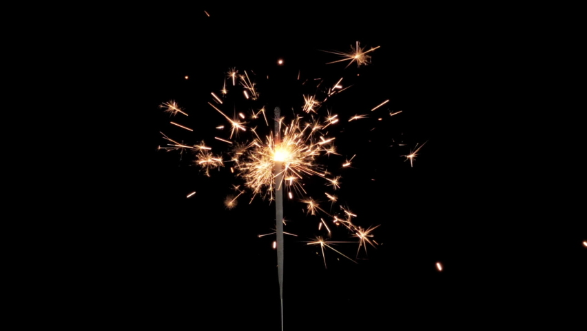 Closeup Of A Festive Sparkler Isolated On Black Background. Slow Motion. Celebration, Success, New Years Concept.  Royalty-Free Stock Footage #1072815437