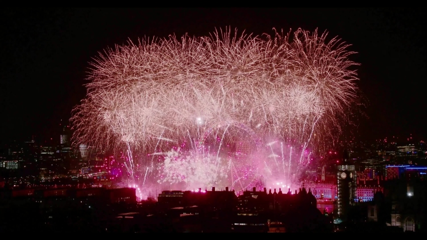 London , United Kingdom (UK) - 01 01 2018: London welcomes in 2018 with a spectacular Fireworks Display