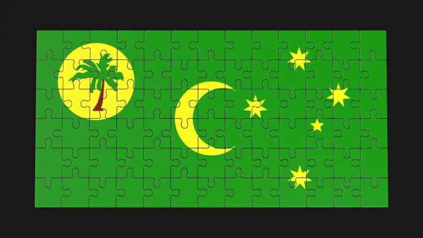 Animation of jigsaw puzzle assemble. Problem solving and completing concept. Cocos Keeling Islands national flag integration. Symbol of association and connection. Isolated on dark background.