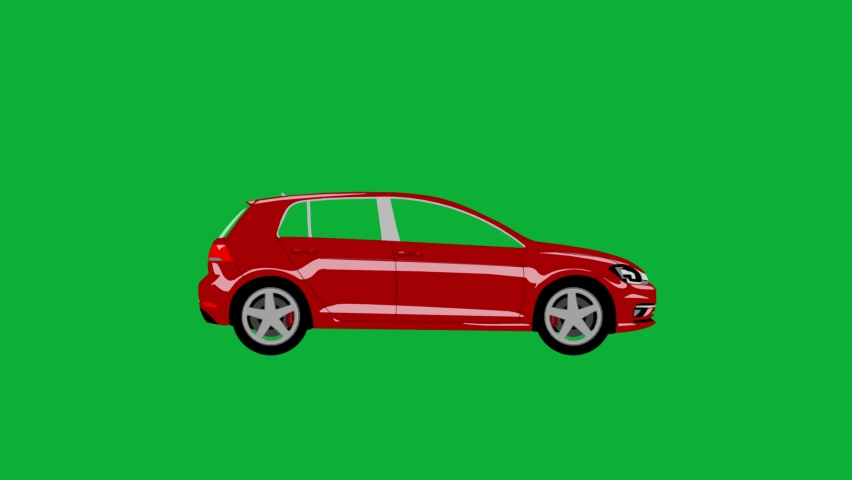 Modern car Driving - New car moving 4K animation on Green screen background - four doors car moving on Chroma key background