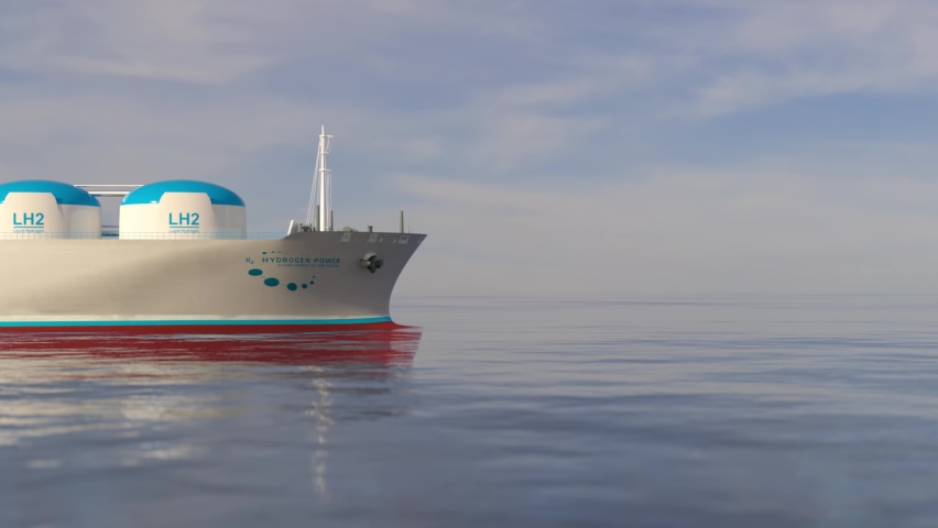 Liqiud Hydrogen renewable energy in vessel - LH2 hydrogen gas for clean sea transportation on container ship with composite cryotank for cryogenic gases. 3d rendering. Royalty-Free Stock Footage #1073023037