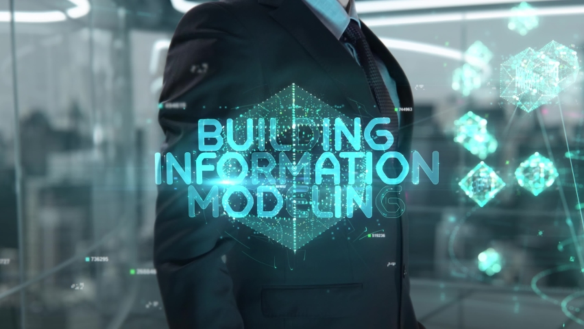 Businessman with Building Information Modeling hologram concept Royalty-Free Stock Footage #1073073692