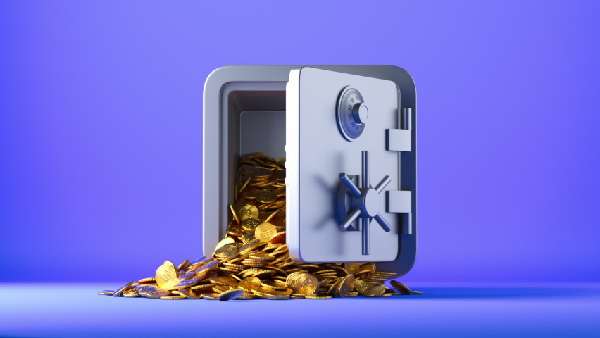 3d animation, golden coins with the bitcoin symbol fall out the opening safe box. Cryptocurrency protection concept Royalty-Free Stock Footage #1073084135