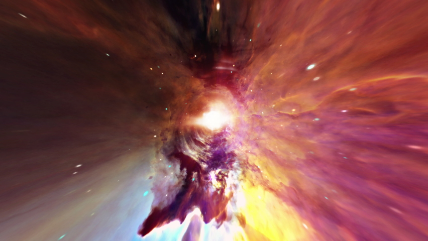 Abstract colorful hyperspace tunnel through space time vortex. 4K 3D Loop Sci-Fi interstellar space travel through wormhole. Abstract teleportation velocity jump in cyberspace with supernova light. Royalty-Free Stock Footage #1073149265