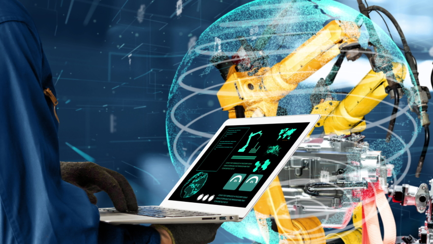 Smart industry robot arms modernization for innovative factory technology . Concept of automation manufacturing process of Industry 4.0 or 4th industrial revolution and IOT software control operation. Royalty-Free Stock Footage #1073338982