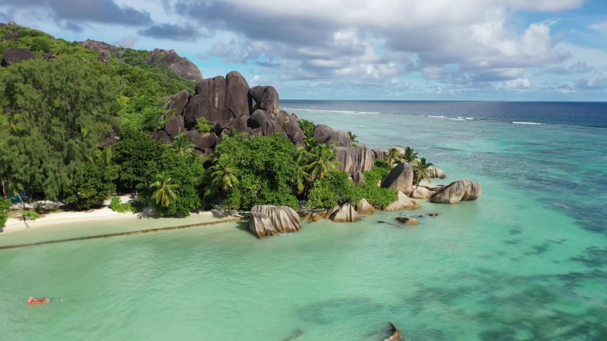 No filters. Seychelles. The most photographed beach in the world   Shutterstock HD Video #1073361296
