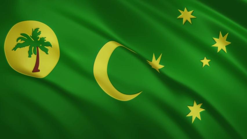 Cocos - Keeling Islands - Waving Flag Video Background