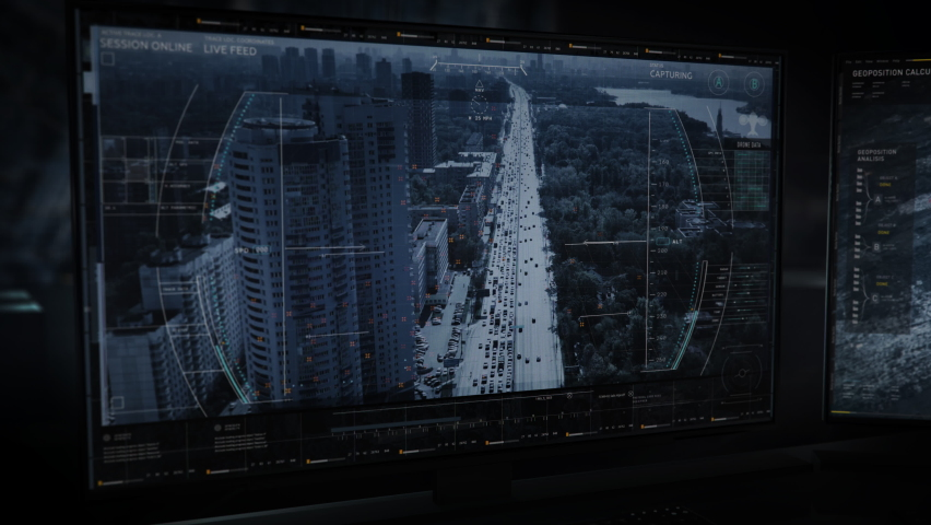 Newest Tracking Software With Advanced User Interface On Computer Screen. User Interface To Locate And Track Criminals. Operating Drone To Hold Surveillance. User Interface Displaying Data. | Shutterstock HD Video #1073497250