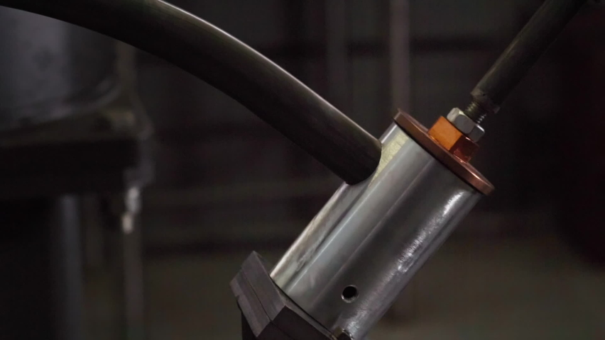 Production process at the Industrial Plant. An Automated Welding Machine is Used for the production process. Newest Medical Equipment production process. Modern Manufacturing Facility. Close-up. Slow. | Shutterstock HD Video #1073497733