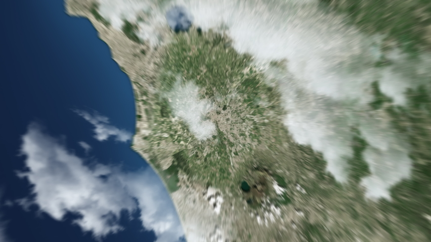 Earth zoom in from outer space to city. Zooming on Rome, Italy. The animation continues by zoom out through clouds and atmosphere into space. View of the Earth at night. Images from NASA. 4K | Shutterstock HD Video #1073540111