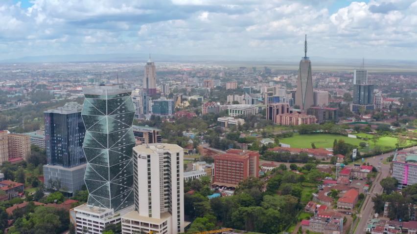 Aerial view capital Nairobi, Republic of Kenya, East Africa. Urban landscape drone footage.   Shutterstock HD Video #1073590223