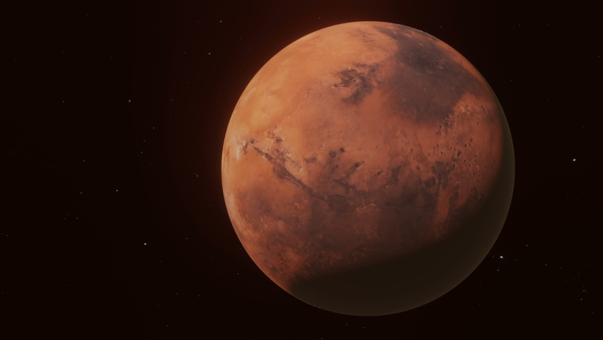 Fly through in space from Earth to Mars.60fps