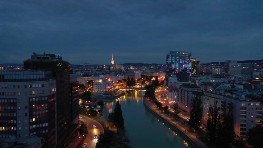 twilight time illumination vienna city famous riverside night life traffic bridge aerial panorama 4k austria Royalty-Free Stock Footage #1073728748