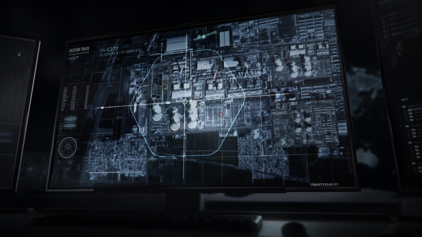 Newest Secret Surveillance Software Provides Future Scan Of Territory Map. Future Scan Obtained By Satellite Cameras. Power Station In China Under Control. Spy Technologies Create Future Scan. | Shutterstock HD Video #1073754431