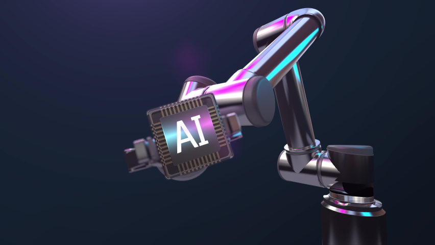 Robot arm implants Artificial intelligence AI chip, IoT smart factory future technology,  4k animation. Royalty-Free Stock Footage #1073761259