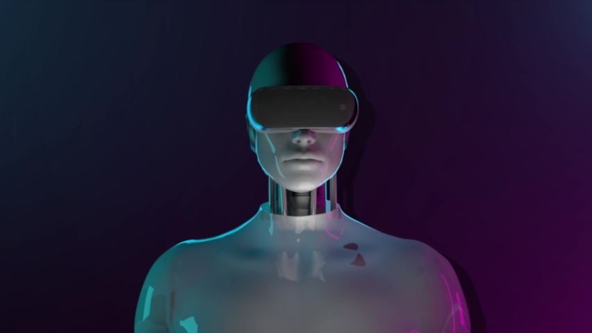 Robot wearing virtual reality glasses in user interface background. Augmented reality Future technology, 4k animation. Royalty-Free Stock Footage #1073761286