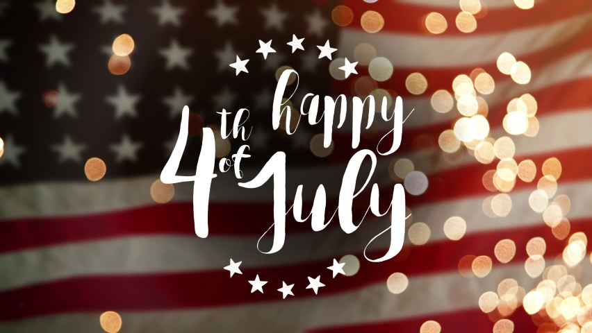 Happy July 4th Independence day celebration, Memorial Day of USA. Flag of United States waving with fireworks Royalty-Free Stock Footage #1073926301