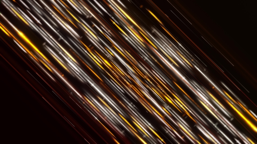 Abstract neon lines of the energy stream of silver and golden colors on black background. Animation. Hypnotic lines in outer space, seamless loop.