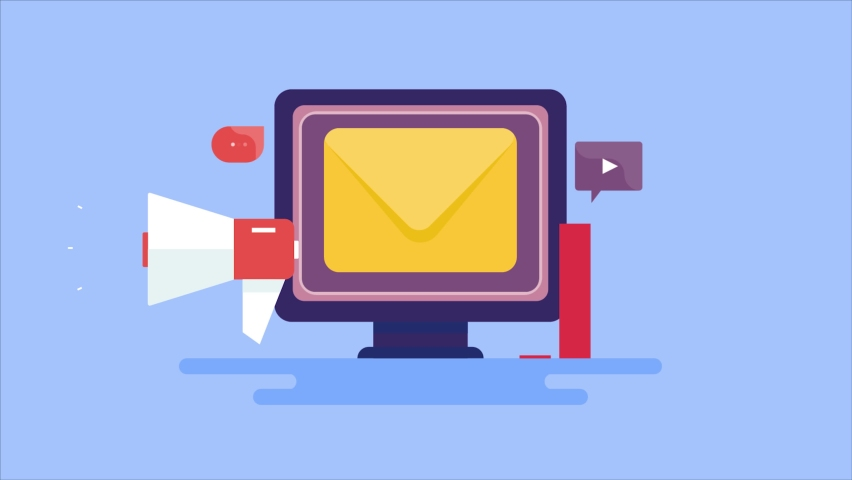 Email communication, email software, digital advertising, email marketing, content promotion - conceptual 2d animation video clip Royalty-Free Stock Footage #1074107465