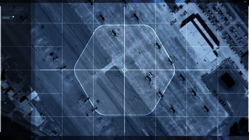 Newest Spying System is dealing with satellite search. Satellite search of the Location of the Enemy Armed Forces. Satellite search Identifying Multiple Helicopters on the Military Base. Interface. | Shutterstock HD Video #1074170633