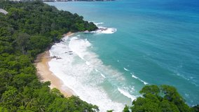 PHUKET THAILAND SEA BEACH. On15 June, 2021. High-Quality Nature Video Landscape Aerial View Beach Sea. On Good Wether Day In Summer Travel. Phuket travel trip Andaman sea On June 2021.