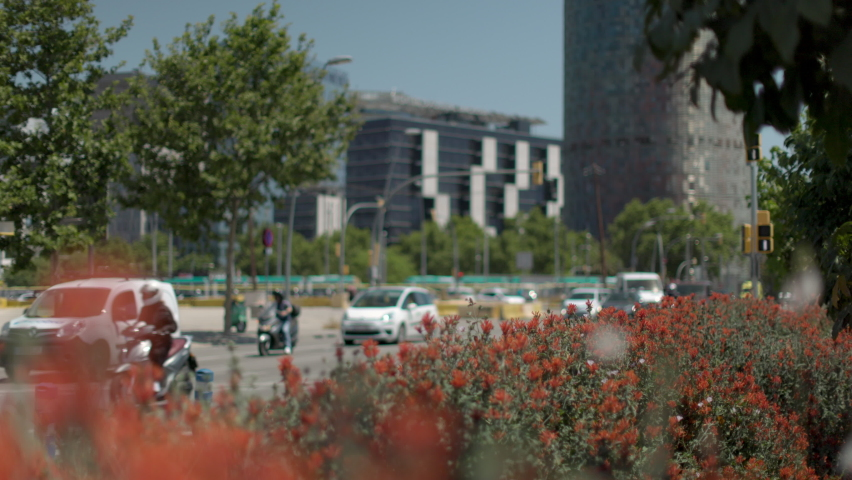 Flowers and shrubs in the foreground with the city of barcelona in soft focus in the background pedestrians,    Shutterstock HD Video #1074269075
