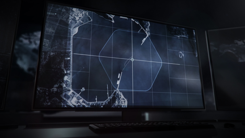 Monitors with the Newest spy technology. Spy technology is used for the Scanning of the Planet in order to find the Enemy. Spy technology has identified the Military Base on the Coast of the Sea. UI. | Shutterstock HD Video #1074315356