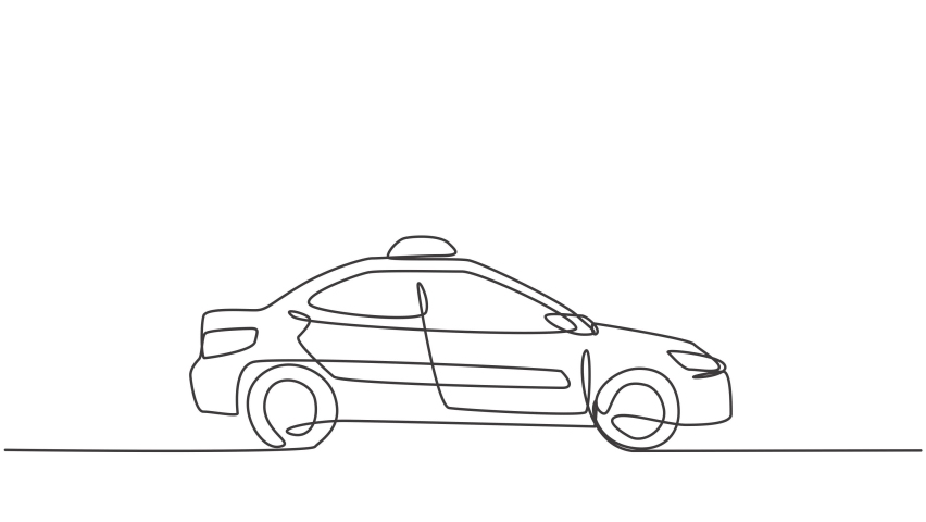 Self drawing animation of single one line draw the newest modern taxi car uses a meter, GPS can be ordered online. Technological advances in transportation. Continuous line draw. Full length animated. | Shutterstock HD Video #1074356483