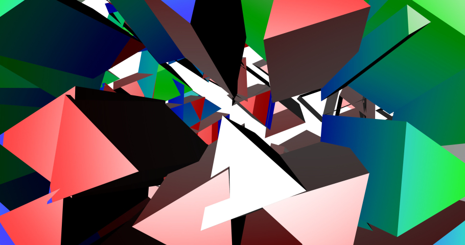 An explosion of geometric colored shapes. Background moving abstract elements.   Shutterstock HD Video #1074381416