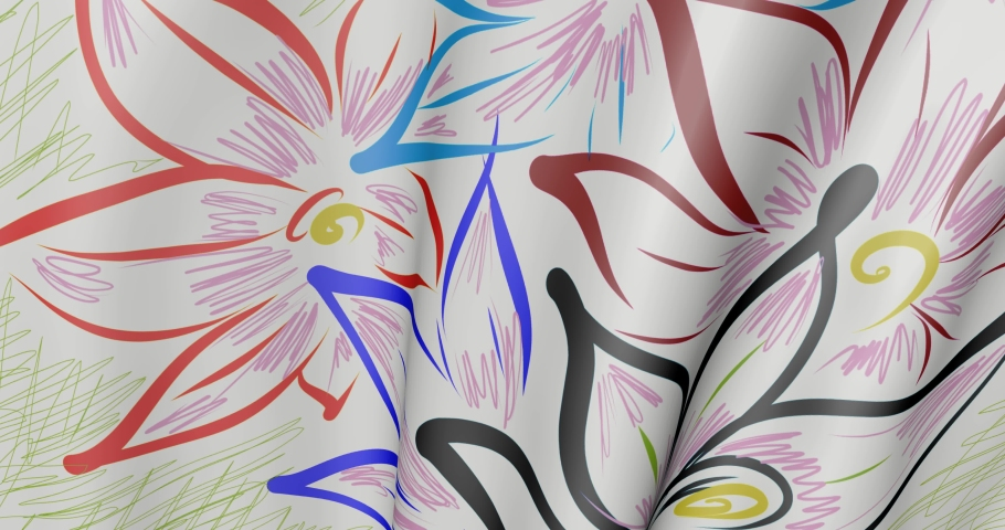 Wind-blown cloth with flowers. Background fabric in the motion of waves.   Shutterstock HD Video #1074381449