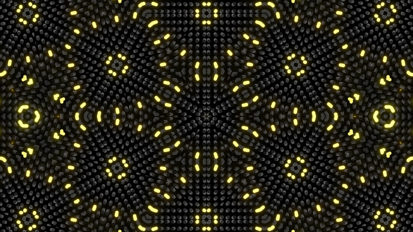 Looped abstract symmetrical background, 3d elements light up like bulbs with multicolor neon light. Bg for show or events, exhibitions, festivals or concerts, music videos, VJ loop for night clubs.   Shutterstock HD Video #1074384605