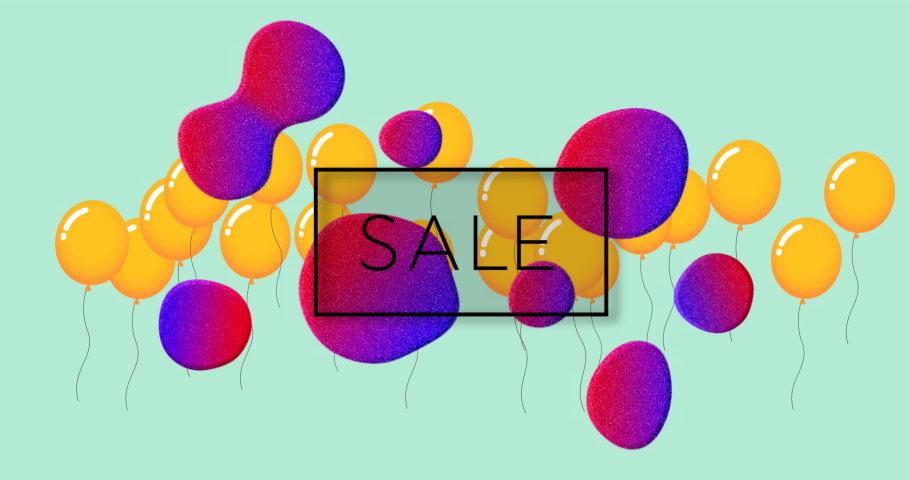 Animation of sale text over blobs and orange balloons on green background. sale, retail and savings concept digitally generated video.   Shutterstock HD Video #1074393152