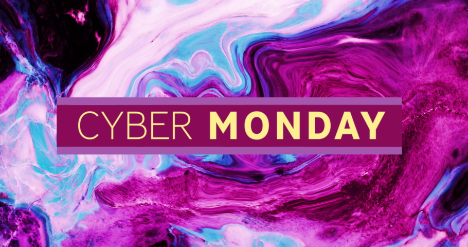 Animation of cyber monday text over abstract liquid purple and pink background. sale, retail and savings concept digitally generated video.   Shutterstock HD Video #1074393308