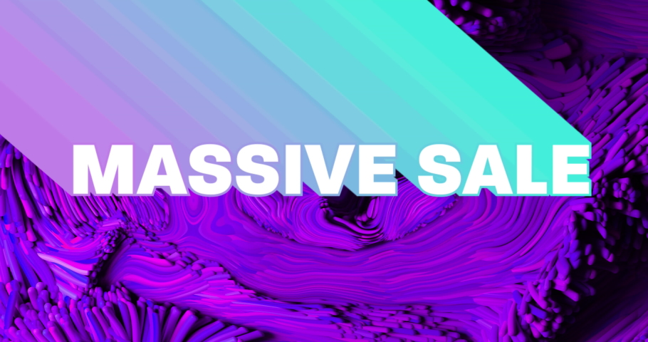 Animation of massive sale text with neon shade and abstract liquid purple background. sale, retail and savings concept digitally generated video.   Shutterstock HD Video #1074393503