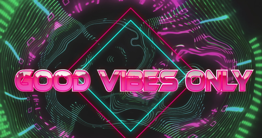 Animation of good vibes only text over abstract patterned background. social media and communication concept digitally generated video.   Shutterstock HD Video #1074393803