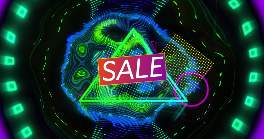 Animation of sale text over neon triangle and abstract shapes background. sale, retail and savings concept digitally generated video.   Shutterstock HD Video #1074394001