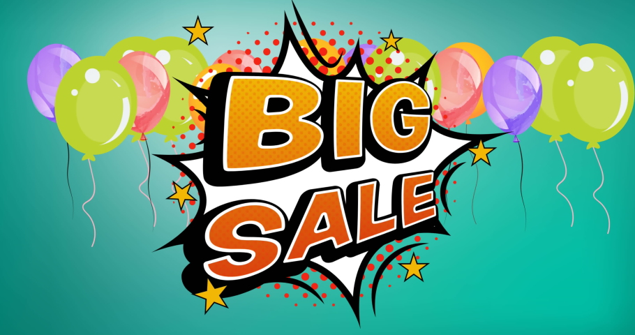 Animation of big sale text over retro speech bubble and balloons on green background. sale, retail and savings concept digitally generated video.   Shutterstock HD Video #1074394229