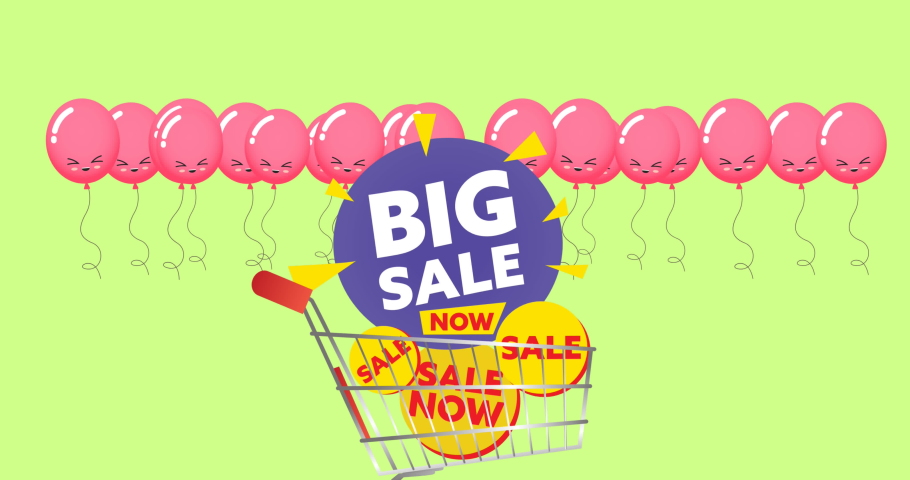 Animation of big sale text in shopping trolley and balloons on green background. sale, retail and savings concept digitally generated video.   Shutterstock HD Video #1074394463