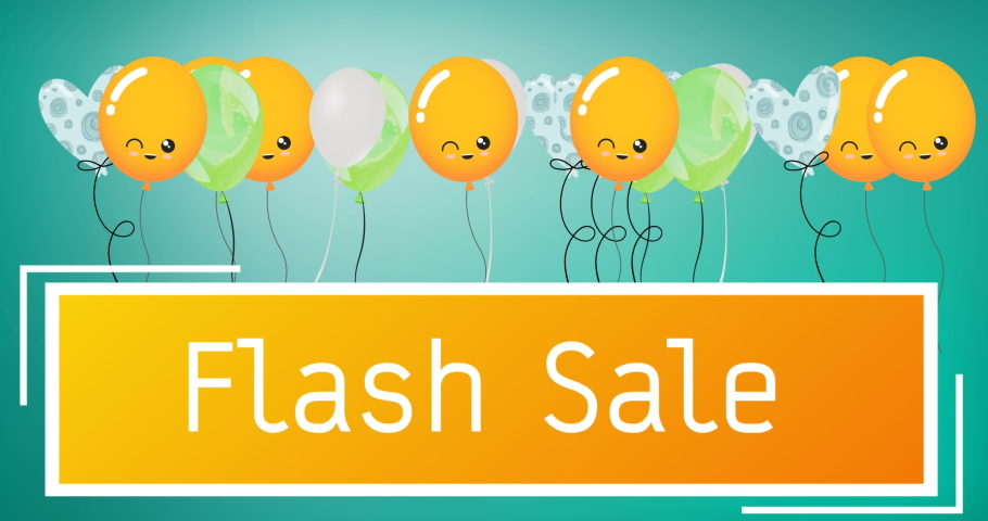 Animation of flash sale text over balloons on green background. sale, retail and savings concept digitally generated video.   Shutterstock HD Video #1074394667